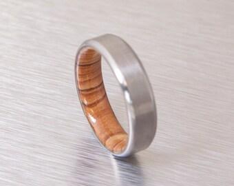 Titanium and Olive Rings // Mens Wood Rings //wood Wedding Band //Men's wedding Band // beveled edge