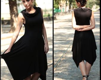 Plus Size Dress, Black Midi Dress, Gothic Dress, Shift Dress, Casual Dress, Steampunk Dress, Cowl Neck Dress, Loose Dress, Oversized Dress
