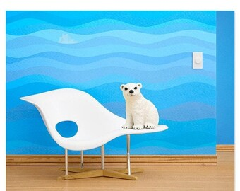 30% OFF SALE Eames mid century modern baby animal nursery art print: Just Chillin'