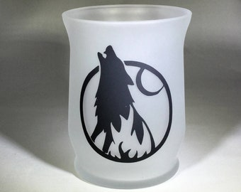 Howling Wolf Frosted Glass Candle Holder