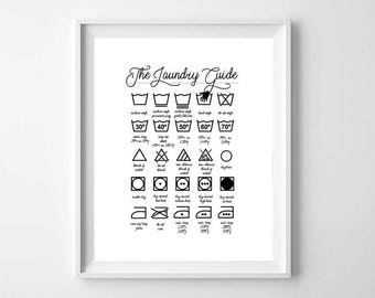Laundry Symbols Print, Printable Art, Laundry Instructions, Washing Instructions, Laundry Room Art, Laundry Sign, Laundry Room Decor