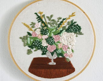 Floral Bouquet - Hand Embroidered Hoop