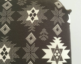 Grey and white tribal stitch fitted crib sheet