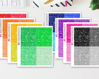 Multicolor Glitter Headers (28 matte stickers, for ECLP, Happy Planner, Filofax, Travelers Notebooks, Kikki K, Passion Planner, etc.)