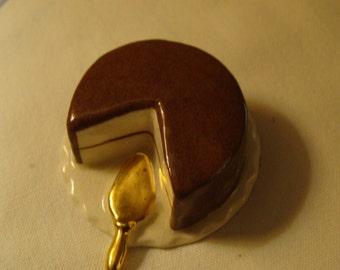 Ceramic Cake Miniature, Porcelain, Gold Spatula, Chocolate Frosting