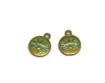 2 charms 12x15mm verdigris finish and gold tone lotus flower