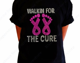 """Girls Rhinestone T-Shirt """" Walk for a Cure Cancer Ribbon """" in Kids Size 3 to 14"""