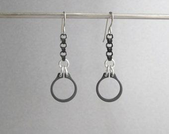 Chain Earrings, Black Earrings, Industrial Earrings, Hardware Earrings, Hypoallergenic Earrings, Black Dangle Earrings, Edgy Jewelry