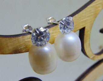 Kate Middleton Inspired CZ Earrings with Removable Pearls