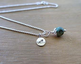 Sagittarius Necklace, Sagittarius Zodiac Necklace, African Turquoise, Sterling Silver, Sagittarius Jewelry, Sagittarius Charm