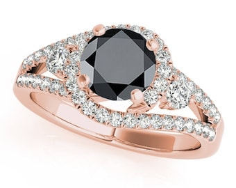 1.75 Ct. Halo Black Diamond Engagement Ring In 14k Gold
