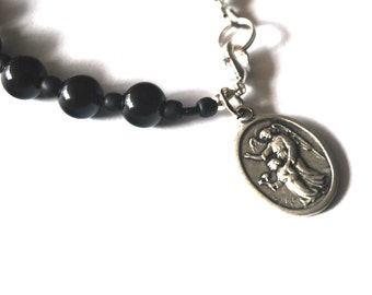 Guardian Angel Mens Rosary Bracelet Black Onyx Tigers Eye Turquoise Guardian Angel Bracelet Male confirmation Gift Catholic Stone Bracelet.