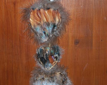 Mobile - Hanging feathers/feathers and natural quilts in various species - hearts - Unique Piece-