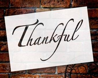 Thankful - Elegant Script - Word Stencil - Select Size - STCL2099 - by StudioR12