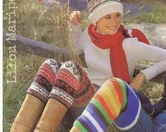 Leg Warmers Pattern Scarf Pattern Hat Pattern Boot Socks Pattern Vintage 70s,3 Knitting Patterns