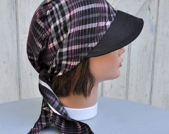 Bandana, Cap, fichu scarf preformed purple pink black Plaid cotton - one size