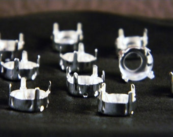 12 Silver Plated 50ss/12mm Rivoli Round Sew On Settings
