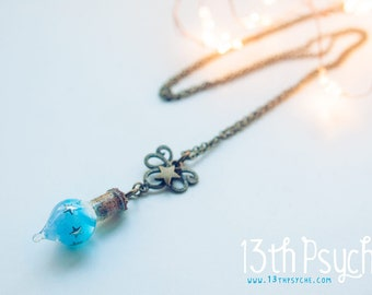 Glow in the dark necklace. Glowing vial pendant, miniature stars necklace, Potion bottle necklace, glow jewelry,Inspirational gift for women