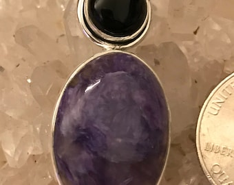 Charoite and Black Onyx Pendant Necklace