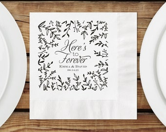 Personalized Luncheon Napkins Wedding, 3 Ply Luncheon Napkins, Paper Napkins Botanical Design, Imprint And Napkin Color Options Available