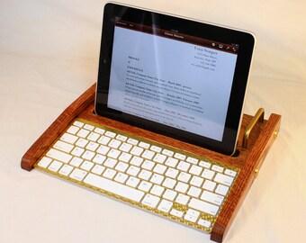 iPad Workstation - Keyboard - Tablet  Dock  - Oak -  iPad, IPhone, Tablet Bluetooth Keyboard Computer Desktop Workstation - iPad Stand