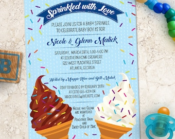 Ice Cream Cone Baby Sprinkle Shower Invitation; Printable, Evite or Printed (US Only) Invitations, 4 color options