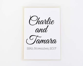 Personalised Wedding or engagement card - Custom names and event date - Elegant white wedding card