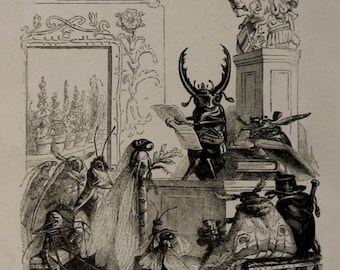 """1852.Antique print.GRANDVILLE.Woodcut,wood engraving""""Scenes from the public and private life of animals""""Allegory.11.4x7.8 inches, 29x20cm."""