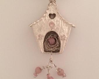Fine Silver Bird House Pink Accent