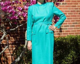 Vintage 1960s Jackie Kennedy style green business dress