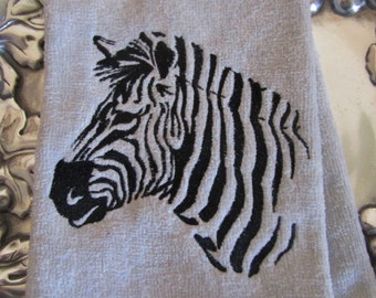 Safari  Zebra (Silver) - Fingertip Velour Bathroom Towel - JD Designs