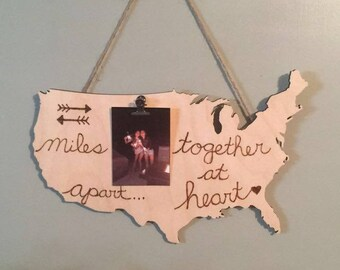 Wood Burned Wall Decor. Miles Apart Together at Heart. Best Friends