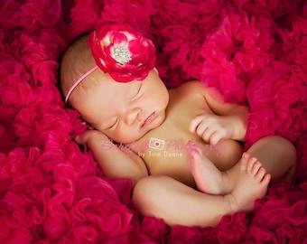Baby Headband. Baby Pink Flower Headband. Baby Girl Hot Pink Flower Headband. Infant Pink Flower Headband. Newborn Hot Pink Flower Headband.