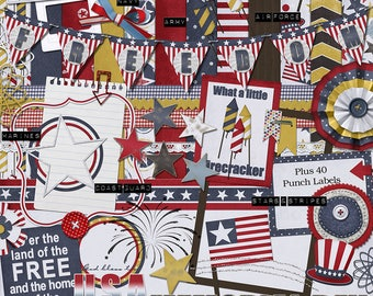 Patriotic digital scrapbook kit with flag, uncle sam hat, fireworks, paper flowers, frames,digital paper, clipart  in red, white and blue