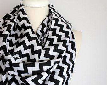 Black and White Color Chevron Zig Zag Pashmina Infinity Scarf, Circle Scarf, Scarves, Shawls, Extra Long Oversize Infinity Scarf