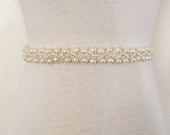 Pearl Sash-Beads Belt-Beaded Pearl Belt-Ivory Sash-Bridal Sash-Maternity Prom-Maternity Sash-Pregnancy Sash-Ivory Pearl Braided Bridal Sash