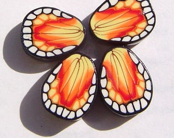 Yellow Red Butterfly Wing Handmade Artisan Polymer Clay Beads