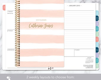 personalized planner 2018 & 2019 calendar | add monthly tabs custom weekly student planner | planner agenda | pink watercolor stripes