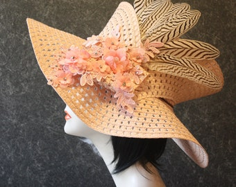 Pink Kentucky Derby Hat, Derby Hat, Garden Party Hat, Tea Party Hat, Easter Hat, Church Hat, Wedding Hat, Downton Abbey Pink Hat 070