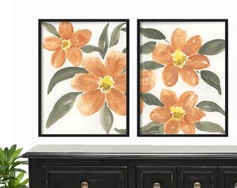 Watercolor Print Set of 2  - Watercolor Prints - Floral Watercolor Prints - Floral Print Set - Wall Art Print Set - Floral Wall Art Decor