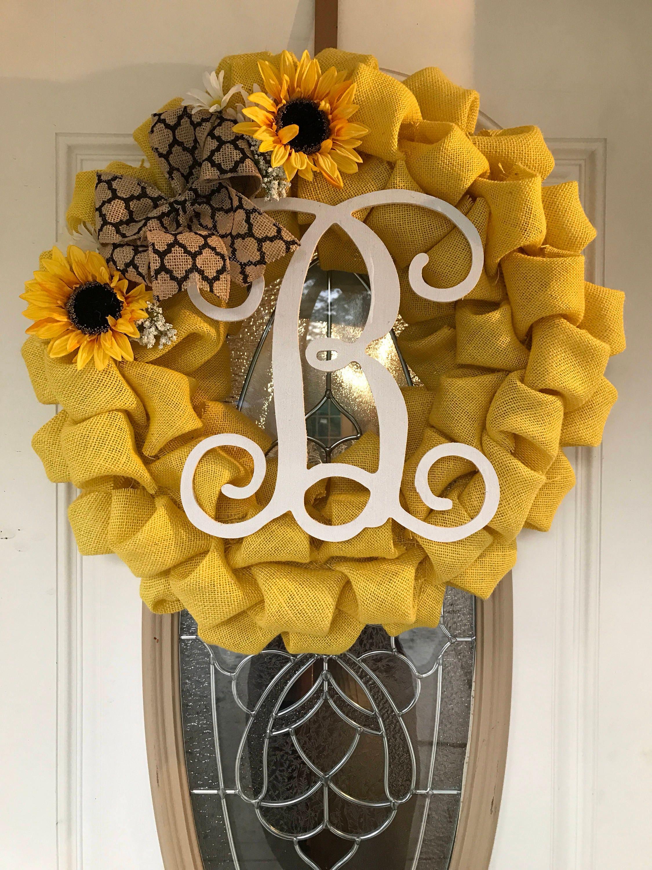 Sunflower Burlap Wreath Mother\'s Day Gift Sunflower