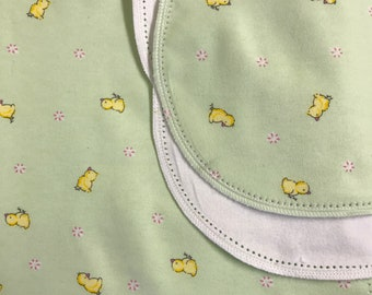 Chicks hemstitch flannel baby blanket and burp cloth, double sided flannel receiving size 36x40. Perfect swaddle.