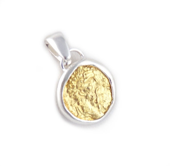 Mini gold coin pendant zeus 18k gold sterling silver mozeypictures Gallery