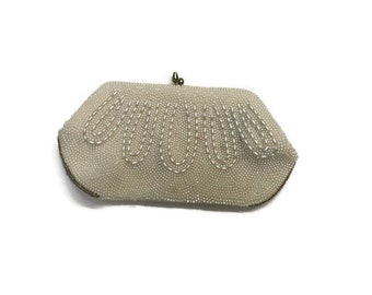 Vintage Pearl Beaded Convertible Clutch Purse, 1950s or 1960s Pearl Beaded Bag, Evening Bag, Wedding Bridal Accessory