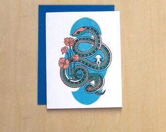 Garter and Mouse -  California Wildlife A2 Blank Notecard