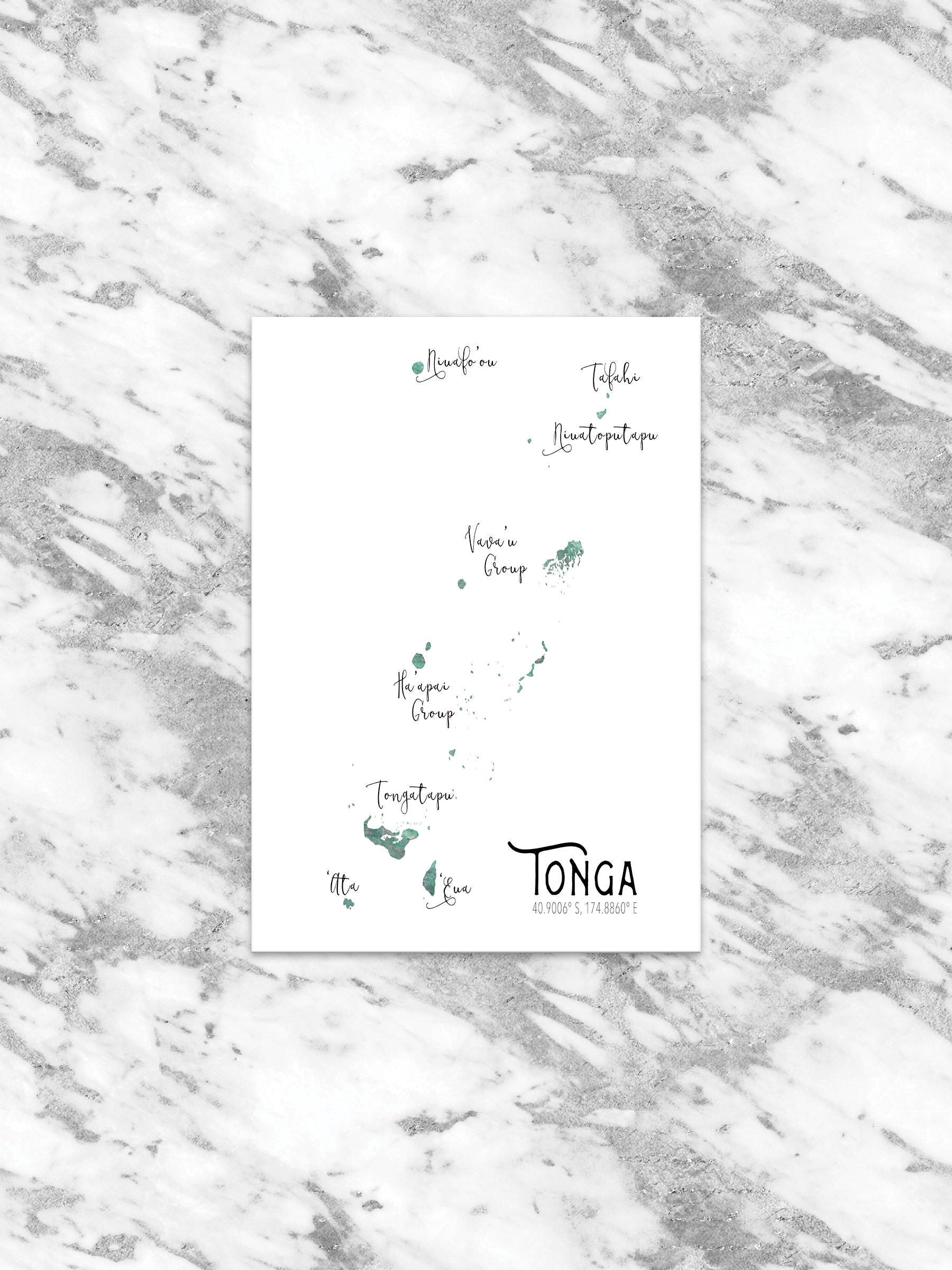 tonga map digital file custom map art south pacific art Map Hawaii and Polynesia zoom
