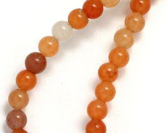 10 x 8mm Peach Aventurine round beads