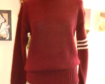 """1950's , 42"""" chest, hand knit maroon rugby sweater."""