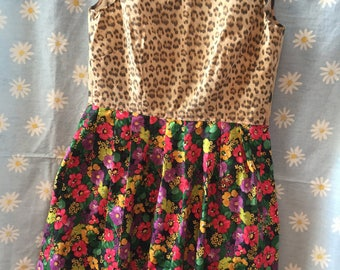 Floral Leopard print pleated dress - size 12