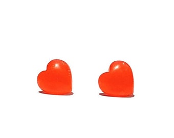 ON SALE Hypoallergenic - Red - Jelly Heart Earrings - Invisible Clip On - Plastic Post - Metal Sensitive Ears - Sensitive Skin - Cute - Kids